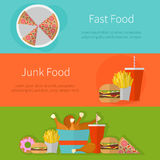 Fast food banner design. Flat icons of junk food Stock Image