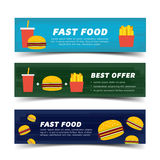 Fast food banner flat Royalty Free Stock Photography