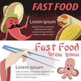 Fast food banner flat. Mexican and japan fast food banners Stock Photos