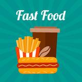 Fast food banner. Flat retro style. Coffee, franch fries and sandwich Royalty Free Stock Photo