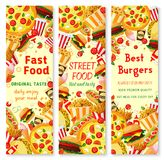 Fast food banner with frame of lunch meal, drinks Stock Photo
