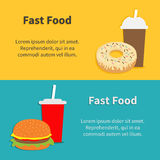 Fast food banner set Hamburger, soda with straw. Coffee paper cup, donut dessert. Flat design Royalty Free Stock Images