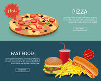 Fast Food banner set. Website header Royalty Free Stock Image