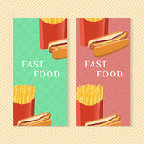 Fast food banners with hot dog and french fries. Graphic design elements for menu packaging, advertising, poster Royalty Free Stock Photo