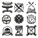 Fast food, BBQ, barbecue vintage vector emblems stock illustration