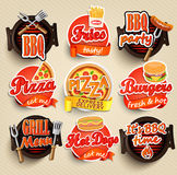 Fast food and BBQ Grill elements. Stock Photo