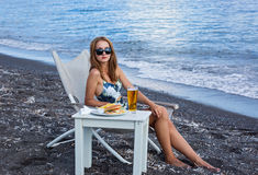 Fast food on the beach Royalty Free Stock Photos