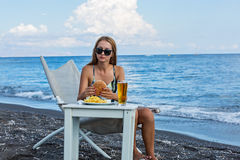 Fast food on the beach Royalty Free Stock Images