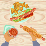 Fast food with beer stock illustration
