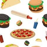Fast food Bezszwowy tło Wektorowy fasta food wzór Nieskończona tekstura dla projekta z fastem food royalty ilustracja