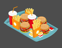 Fast food big set. Many meal on  tray. Frying potatoes. Big hamb Stock Photo