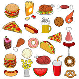 Fast Food big set. Signs of feed. Icon Collection of meat. Pizza Royalty Free Stock Photo