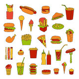 Fast food big vector set. Burgers, sandwiches, hot dogs, drinks and other fast food hand-drawn in cartoon style Royalty Free Stock Photography