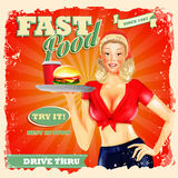 Fast food blonde  vintage Stock Photos