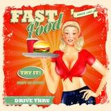 Fast food blonde  vintage Stock Photos