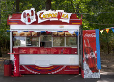 Fast food booth with Coca Cola advertisements in Moscow, Russia. Stock Image