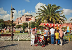 Fast-food booth and Hagia Sophia Royalty Free Stock Photography