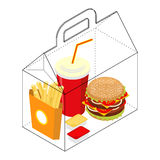 Fast food box. Packing for breakfast. French fries and hamburger Royalty Free Stock Photo