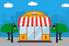 Free Fast Food Building Facade With Signboard With Burger, French Fries, Soda Cup, Street Lamps, Trees. Vector Illustration. Royalty Free Stock Image - 106557476