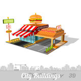 Fast food building with hamburger on roof Royalty Free Stock Photography