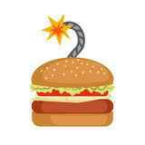 Fast food Burger with bomb cord. Stock Images