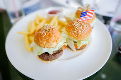 Fast food burger. S are delicious everywhere Royalty Free Stock Photo
