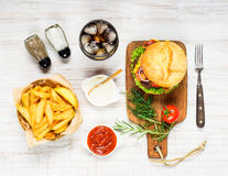 Fast Food Burger with Cola and French Fries Stock Photos
