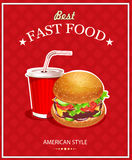 Fast Food. Burger and Cola. Vector illustration Royalty Free Stock Image