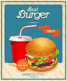 Fast Food. Burger and Cola. Vector illustration Stock Photography
