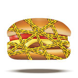 Fast food burger with danger warning tapes Royalty Free Stock Photo