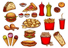 Fast food burger, drink and dessert sketch set Royalty Free Stock Photo