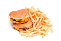 Fast Food Burger and French Fries Isolated on White Stock Images