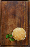 Fast food burger with french fries. On a wooden board Royalty Free Stock Image