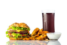 Fast Food Burger, Fries with Cola and Dipping Sauce. Burger with French Fries, Cold Cola and dipping sauce on white background Stock Photo