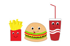 Fast food burger, fries and drink with faces Stock Photography