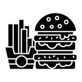Fast food - burger and fries icon, vector illustration, black sign on isolated background Royalty Free Stock Image