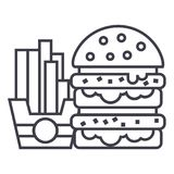 Fast food,burger and fries vector line icon, sign, illustration on background, editable strokes Royalty Free Stock Photos