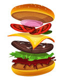 Fast Food Burger Icon With Ingredients Layers Royalty Free Stock Photos