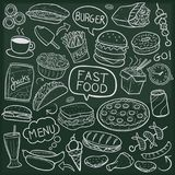 Fast Food Burger Menu Restaurant Traditional Doodle Icons Sketch Hand Made Design Vector. A emblematic elements and Tools Traditional Doodle Style Hand Drawn Stock Images