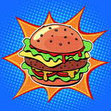 Fast food Burger with sesame meat salad and cheese Stock Photos