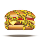 Fast food burger with workout time tapes. Vector Illustration  on white background Stock Photo
