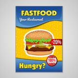 Fast food or burgers flyer design template in A5 or A4 size. Brochure and Layout Design. food concept. Eps 10 royalty free illustration