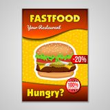 Fast food or burgers flyer design template in A5 or A4 size. Brochure and Layout Design. food concept. Eps 10 vector illustration