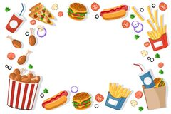 Fast food burgers, fries, hot dogs lies in a frame on a white. The view from the top. Fast food burgers, fries, hot dogs lies in a frame on a white background stock illustration