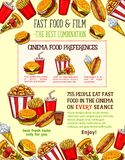 Fast food snacks vector sketch fastfood meals. Fast food burgers, sandwiches and snack poster for cinema bar or bistro of cheeseburger, pizza or hot dog and soda Royalty Free Stock Images