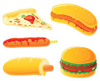 Fast food - cão quente, hamburguer e pizza Fotografia de Stock