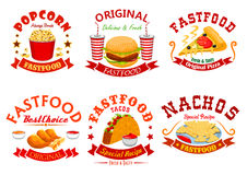 Fast food cafe badge set with takeaway dishes. Fast food cafe badge set. Hamburger, pizza, soda cup, tacos, fried chicken, nachos and popcorn takeaway dishes royalty free illustration