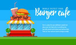 Fast food cafe flyer or banner design with hamburger Stock Photo