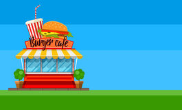 Fast food cafe flyer or banner design with hamburger Royalty Free Stock Photos