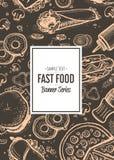 Fast food cafe menu cover design. Hand drawn vector background with burger, pizza, chicken, hot dog, taco, drink doodles. Restaurant price catalog, junk food royalty free illustration